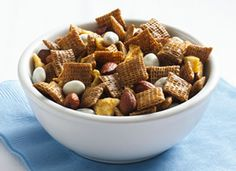 Cinnamon-Apple Chex Mix!  chex with a sugery coating, almonds, dried apples and yogurt covered raisins : )