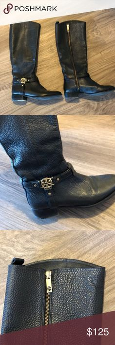 Tory Burch knee high black riding boots size 7.5 Tory Burch pebbled leather riding boots with gold hardware. Some wear but in great condition. Tory Burch Shoes