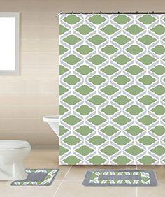 thea sage green gray chain 15piece bathroom accessory set 2 bath mats shower curtain 12 fabric