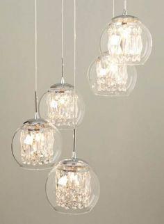 Super crystal pendant lighting over island love Ideas Bhs Lighting, Crystal Pendant Lighting, Entryway Lighting, Bronze Chandelier, Glass Pendant Light, Modern Chandelier, Glass Pendants, Lighting Stores, Lighting Ideas