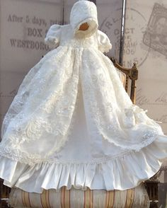 Christening Gown-baptism gown-Bautizo-special occasion- ADELINA - ElenaCollection  - 2