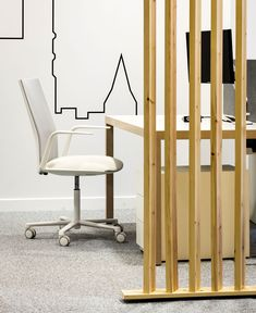 Workspace Decor with Elegant Pinewood Construction