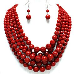 Simple Statement Beaded Layered Strands Red Stone Look Pearl Beads Necklace Earrings Set Gift Bijoux Affordable wedding jewelry, Esmor http://www.amazon.com/dp/B019QR9P4O/ref=cm_sw_r_pi_dp_r53Rwb08M81GZ