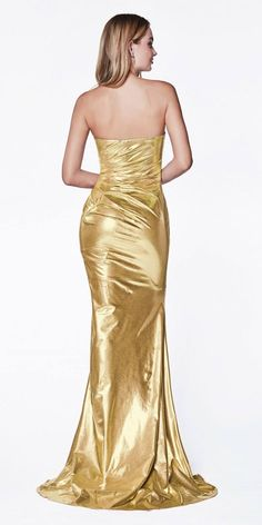 Strapless Sleeveless Leg Slit Pleated Bodice Sweetheart Neckline Mermaid Shape Long Evening Prom Bridesmaid Dress with open back and zipper closure. Satin Dresses, Prom Dresses, Gowns, Fitted Dresses, Short Dresses, Trumpet Dress, Metallic Dress, Gold Dress, Goddess Costume