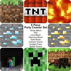 Des sous verre Minecraft en forme de TNT, bloc de lave, creeper ... #minecraft