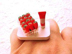 Miniature Food Ring Strawberries Sweetened Condensed Milk