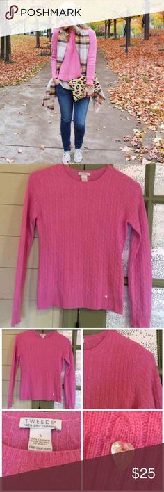 Tweeds 100% CASHMERE Sweater Lovely pink shade, 100% Cashmere and worn one time then had it dry cleaned. Has a mother of pearl leaf sewn onto the bottom left ( shown in pic) In brand new condition! TWEEDS Sweaters Crew & Scoop Necks
