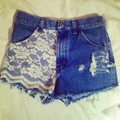 Easily decorate shorts with lace