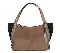 Tignanello Suede Colorblock Shopper with Side Zip Detail
