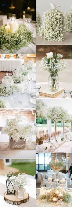 Save Your Budget on Weddings with 45 Baby's Breath Ideas baby's breath wedding centerpieces ideas Rustic Wedding Centerpieces, Diy Centerpieces, Wedding Flower Arrangements, Wedding Table, Diy Wedding, Wedding Flowers, Dream Wedding, Wedding Rustic, Trendy Wedding