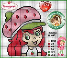 Strawberry Shortcake perler bead pattern by Carina Cassol - http://carinacassol.blogspot.com.br/