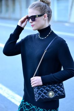 cashmere turtleneck with pearls