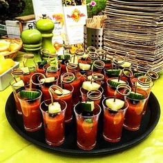 Paella Fella Gazpacho Shots - served with cucumber and spanish olives