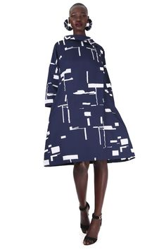 - Navy and White - cotton, spandex - Hand wash - Stylish side collar detail with small zip to open & pull over - Front pleat detail - sleeve - Falls just below the knee - Model wears a size 32 Capsule Wardrobe, Navy And White, High Neck Dress, African, Abstract, Summer, Clothes, Dresses, Design
