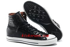 92eb64e88536 2013 All Star Converse Black Leather Rivets Zipper X-High Tops Mens Sneakers