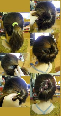 Unique and cute look by putting hair in a ponytail in the middle of your head. Adding hair from the side and twisting the ponytail into a low half bun. Using a hair clip or other hairpiece, covering the space on the other side..