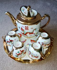 Chinese Porcelain Dragon and Phoenix Tea Set by PenelainAntiques