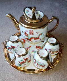 Chinese Porcelain Dragon and Phoenix Tea Set by PenelainAntiques