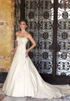 Sweetheart Long A-line Taffeta Classic Chapel Train Wedding Dress