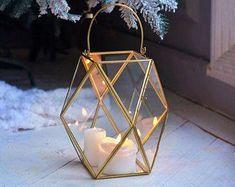 Emerald Cut Gold Geometric Lantern With Handle Small - Hanging Candle Lanterns, Home Lanterns, Lantern Centerpieces, Wedding Lanterns, Floating Candles, Wedding Decor, White Candles, Wedding Themes, Wedding Centerpieces