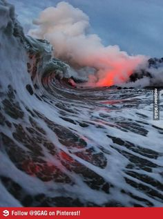Lava flowing into an ocean