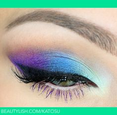 Colorful Eye Makeup Look ~ A Gorgeous Pop of Purple, Blue and Seafoam Green from outer to inner corner of eyelid. Finish with Black Winged Liner and Black Mascara on Upper Lashes - Purple Mascara on Lower Lashes