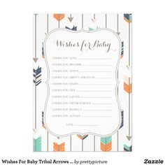 Wishes For Baby Tribal Arrows Shower Navy Orange Card Wishes For Baby Tribal Arrows Shower Game Baby Shower Invitation. Perfect for a Boho Themed Baby Boy Shower.