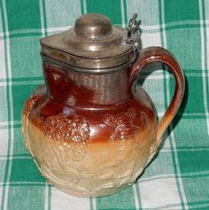 Ornate Two Colored Stoneware Victorian Era 1800s Syrup Pitcher w Lid  $90.00 eBay