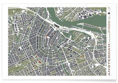 Amsterdam Engraving - Planos Urbanos - Premium Poster