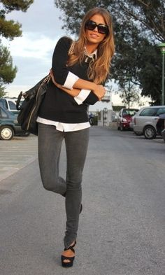 Great casual outfit - skinny jeans, shirt, sweater