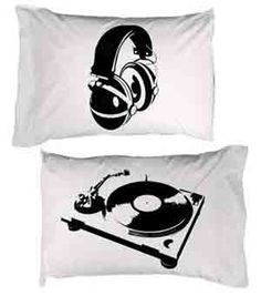 for my son's bedroom - Retro Turntable and Headphones Pillow Cases