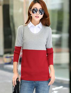 Women's Daily Simple Regular Pullover,Color Block Blue / Pink / Red / Green…