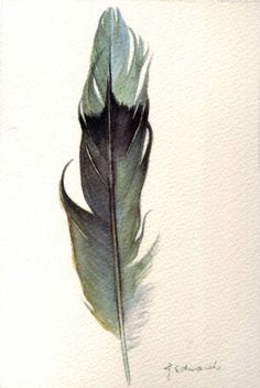 painted feather by J. Edwards, via matilda