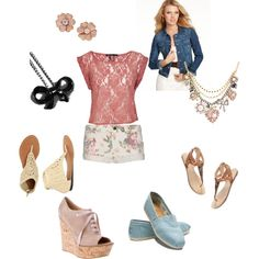 Love the lace trend. Especially love pairing it underneath a jean jacket and with some floral shorts. Adorable.