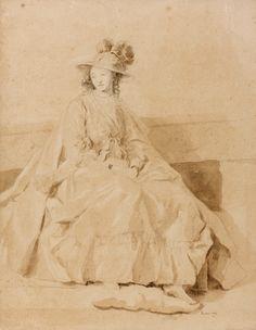 FRAGONARD (Jeune femme assise