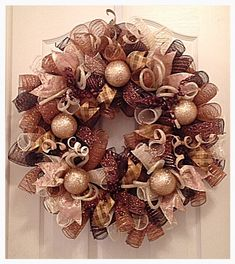 Christmas Chocolate, Gold and Brown Deco Mesh Wreath/Christmas Wreath/Gold and Brown Wreath/Chocolate, Cream, Gold and Brown Wreath by CKDazzlingDesign on Etsy https://www.etsy.com/listing/198489699/christmas-chocolate-gold-and-brown-deco