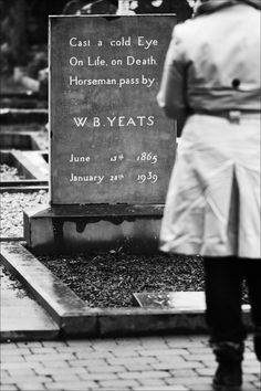 tombstone of Irish poet W.B. Yeats in the cemetery at Drumcliffe Church, county Sligo