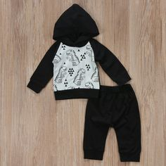 Geometrical Dinosaurs Hoodie and Long Pants Set Harem Pants Outfit, Hoodie Outfit, Baby Boy Clothing Sets, Baby Boy Fashion, Long Pants, Baby Boy Outfits, Outfit Sets, Rompers, Hoodies