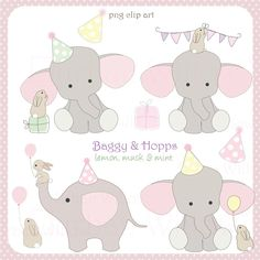 BAGGY HOPPS - lemon, musk and mint - 14 piece digital clip art and page border set, in high resolution, Png digital art files. Elephant Party, Cute Elephant, Elephant Pics, Cartoon Elephant, Birthday Clipart, Birthday Cards, Rabbit Clipart, Elephant Quilt, Baby Shower Invitaciones