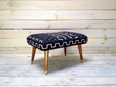 Mali Mudcloth Upholstered Mid Century Ottoman. $175.00, via Etsy.