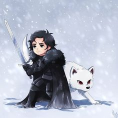 Game of Thrones Jon and Ghost fanart