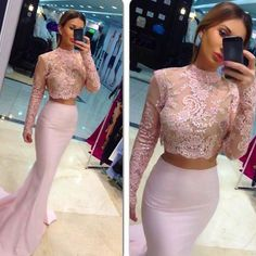 [Click image to buy!] Elegant Long Sleeve High Neck Evening Dresses 2017 Sexy Two Pieces Pink Mermaid Party Gowns Lace See Through Vestido De Festa ~ Shop 4 Xmas n 2018. Detailed information can be found on  AliExpress.com. Just click the image. #HighNeckLaceWeddingGowns