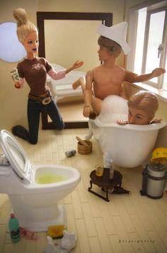 Mariel Clayton - Barbie Comes Home & Finds Ken Playing 'Rear Admiral' Again, art, photography, Barbie, Ken, toys, macabre, morbid, murder