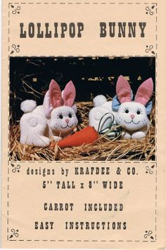 Easter will be here before you know it!  Sew up a Lollipop Bunny Stuffed Fabric Toy Pattern by CraftiqueRedux, $7.99