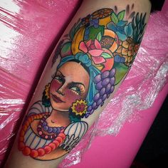 """The full image from the back of hollies calf. #carmenmiranda #carmenmirandatattoo #norwichtattoo #indigonorwich #fruittattoo"""