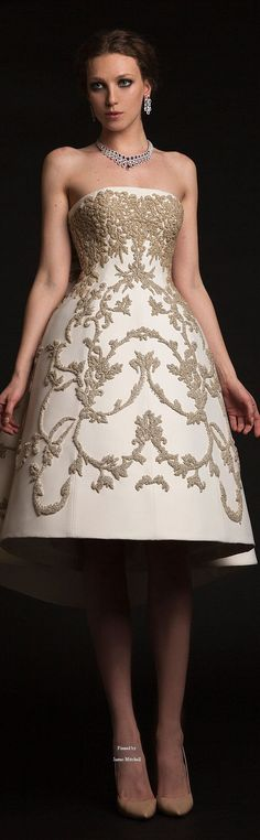 New Dress White Embroidery Couture 2015 Ideas Dresses For Teens, Trendy Dresses, Short Dresses, Fashion Dresses, Dresses 2016, Bride Gowns, Bridal Dresses, Krikor Jabotian, Couture 2015