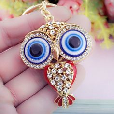 kBig Porcelain Eyes Owl Rhinestone Crystal Keyringsk