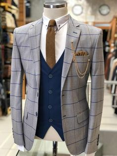 Wedding Suits Slim-Fit Plaid Suit Vest Gray – BOJONI - Available Size : material : viscose , polyester Machine washable : No Fitting : slim-fit Remarks : Dry Cleaner Mens Suit Vest, Mens Suits, Suit For Men, Costume Africain, Blazer Outfits Men, Suit Combinations, Designer Suits For Men, Slim Suit, Mens Fashion Suits