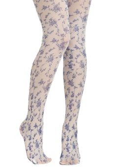 Roses Are Blue Tights - Floral, French / Victorian, Blue, White, Daytime  Party $15.99