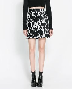 """cow prints as the """"new"""" animal print for fall/winter 2013 - yay or nay? {ZARA Printed Mini Skirt} {I'm undecided!}"""